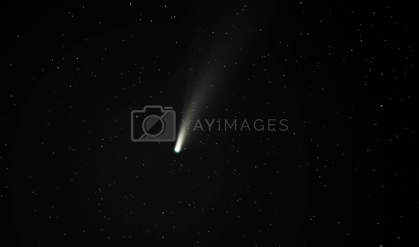 Comet Neowise captured at 200mm focal length, clearly showing dust and ion tails