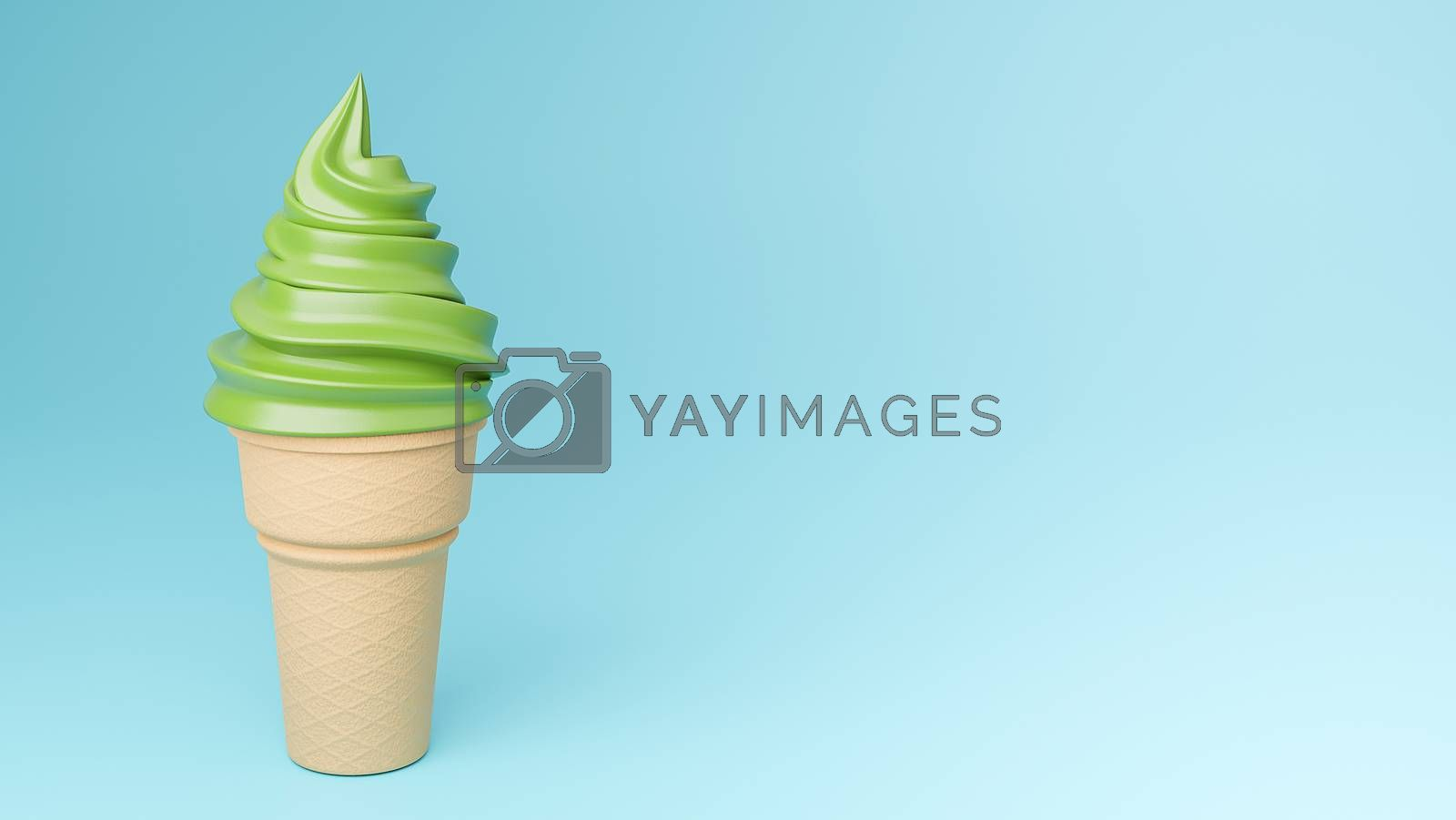 Soft serve ice cream of green tea flavours on crispy cone on blue background.,3d model and illustration.