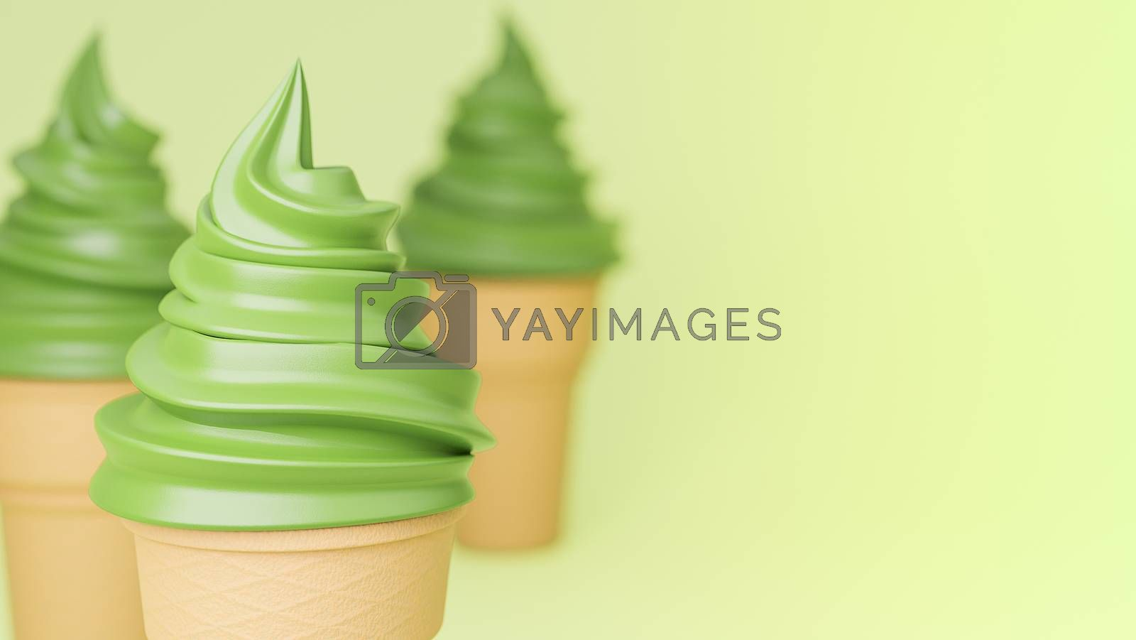 Soft serve ice cream of green tea flavours on crispy cone on green background.,3d model and illustration.