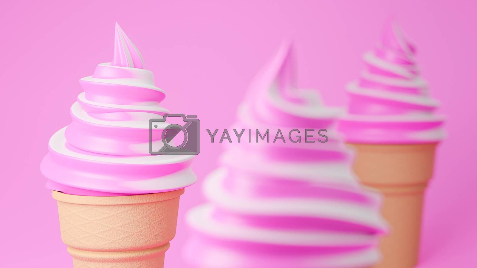 Soft serve ice cream of strawberry and milk flavours on crispy cone on pink background.,3d model and illustration.