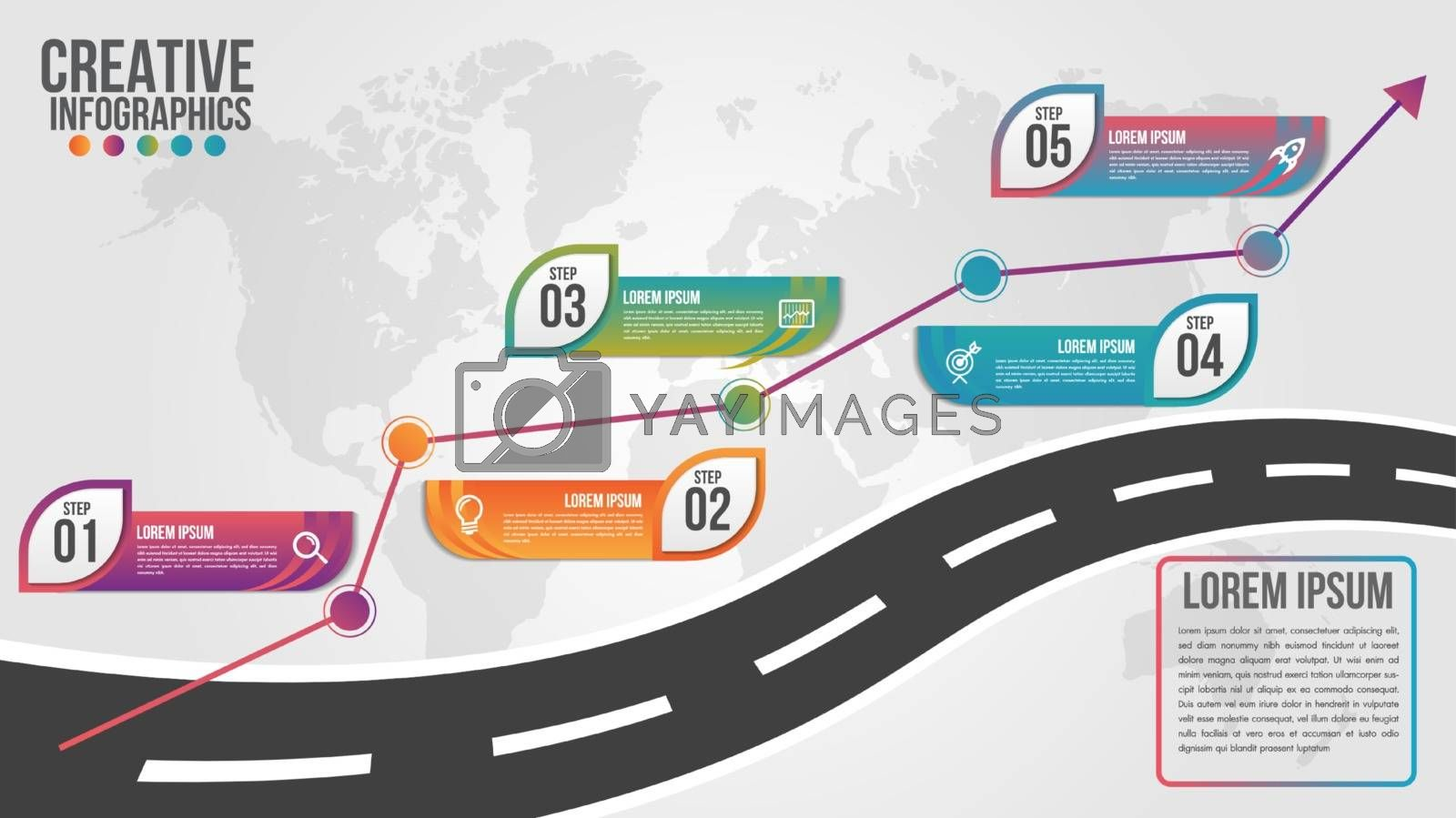 World map business infographics 5 step options vector illustration and design template with road timeline.Can be used for communication connect, workflow layout, banner, diagram, number, web design.