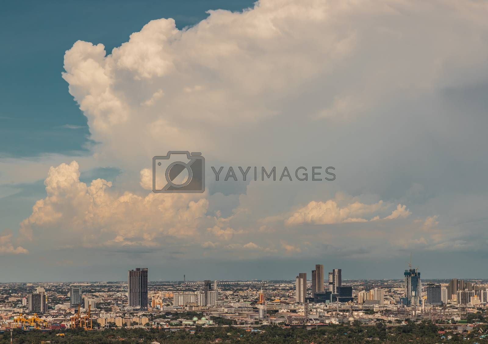Bangkok, Thailand - Jul 27, 2020 : City view of Bangkok afternoon creates energetic feeling to get ready for the day waiting ahead. Selective focus.