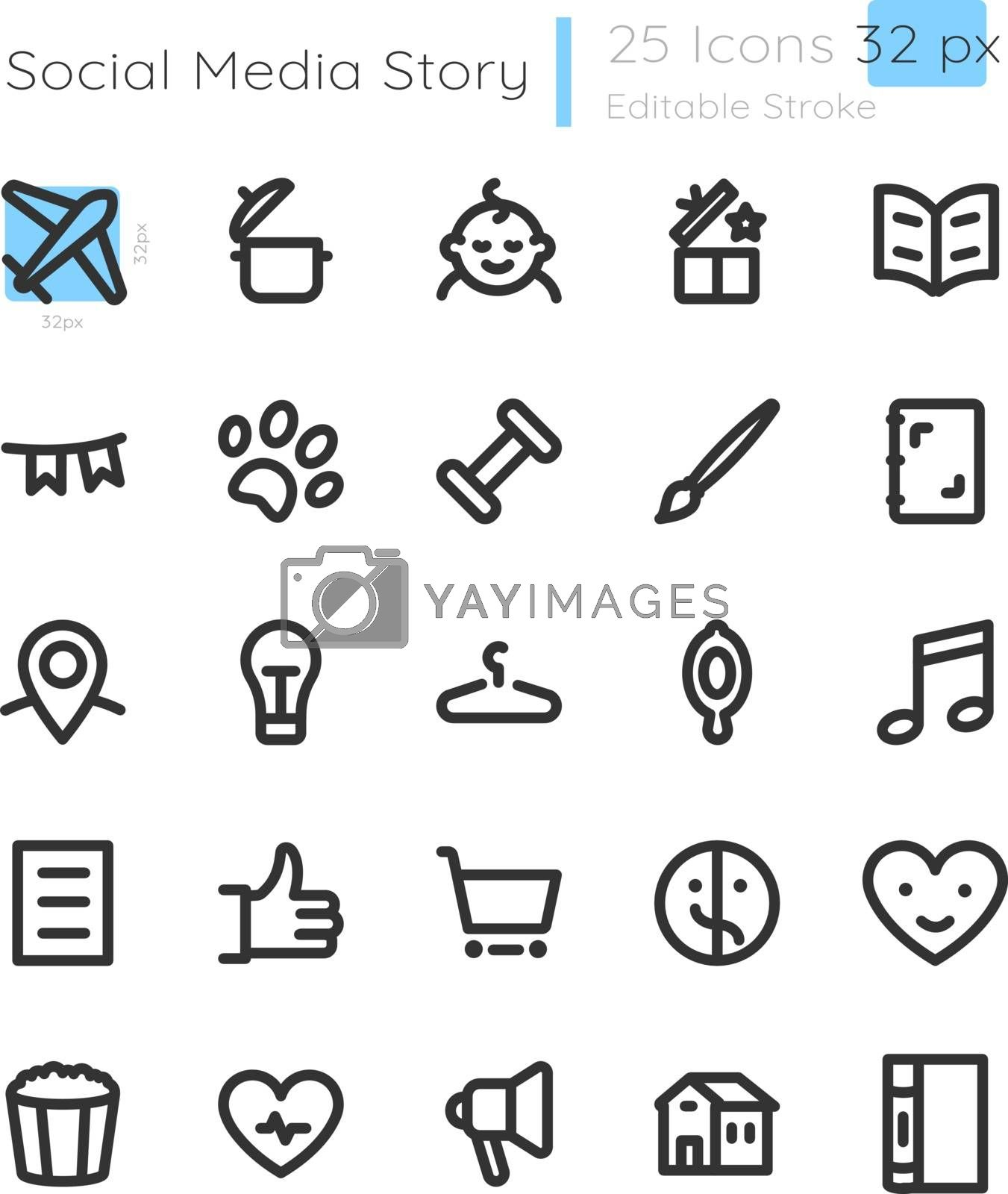 Lifestyle storytelling highlights linear icons set. Travel and entertainment. Pet care. Customizable thin line contour symbols. Isolated vector outline 32 x 32 px illustrations. Editable stroke