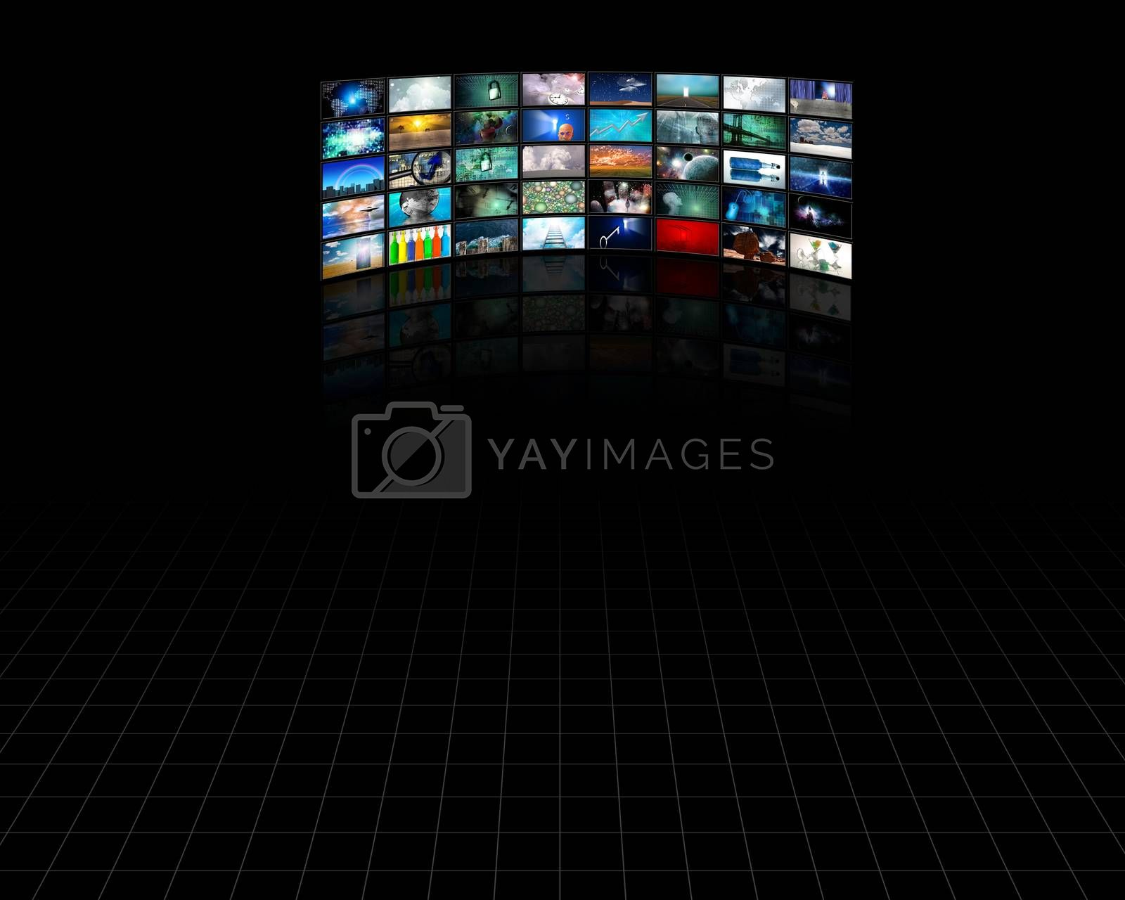 Big Panel Of Tv Screens. Internet Business. 3D rendering