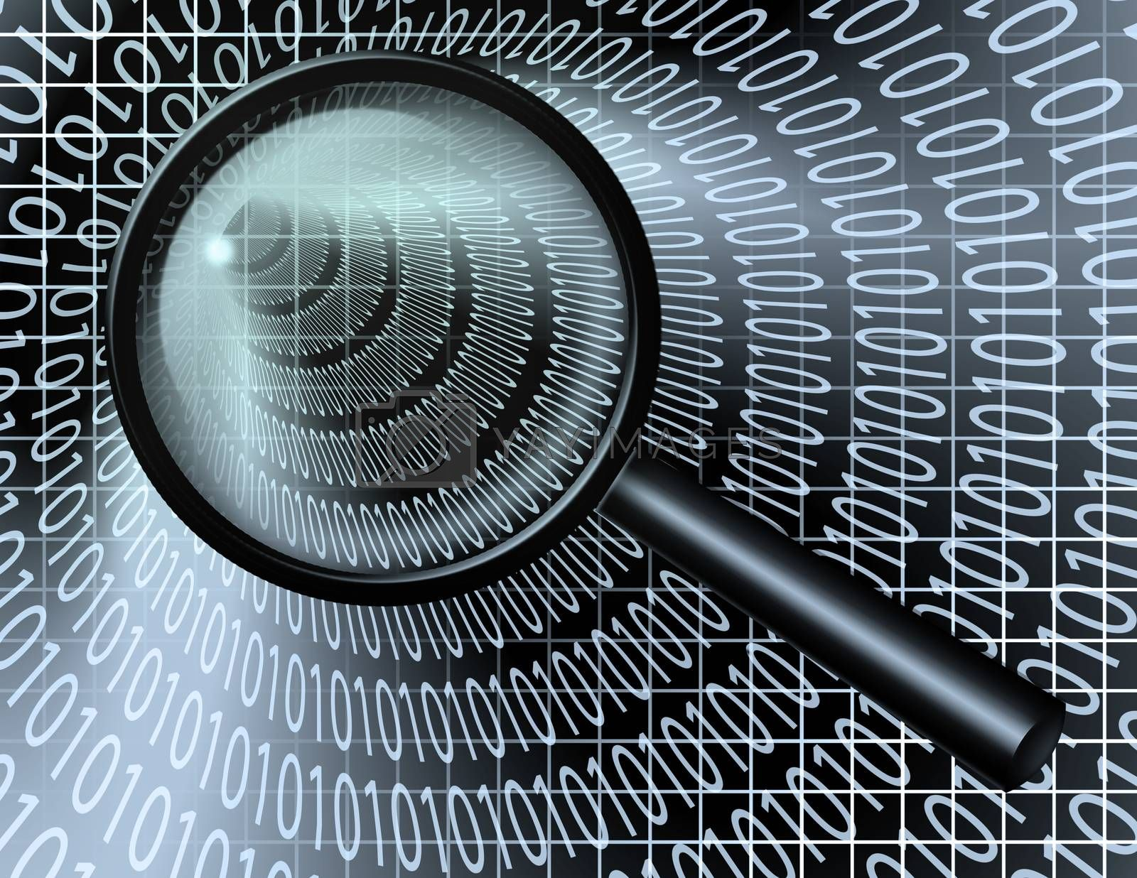 Internet Search. Binary code stream and magnify glass. 3D rendering