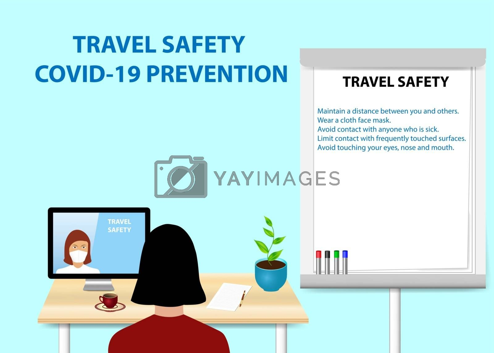 Woman is educating in Travel Safety Prevetion of Covid-19 by a woman communicating with her from a PC monitor. Description of Travel Safety is written on the flipchart standing next to her.