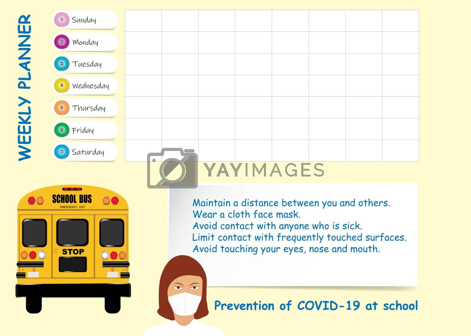 School weekly planner with travel safety instructions for covid-19 prevention. Showing school bus, instructions and doctor woman.