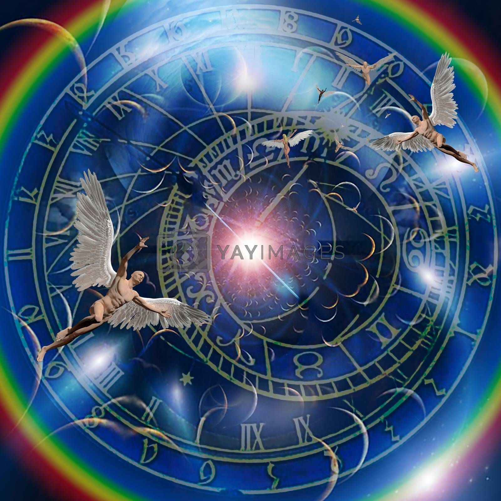 Angels and time. Zodiac clock. 3D rendering