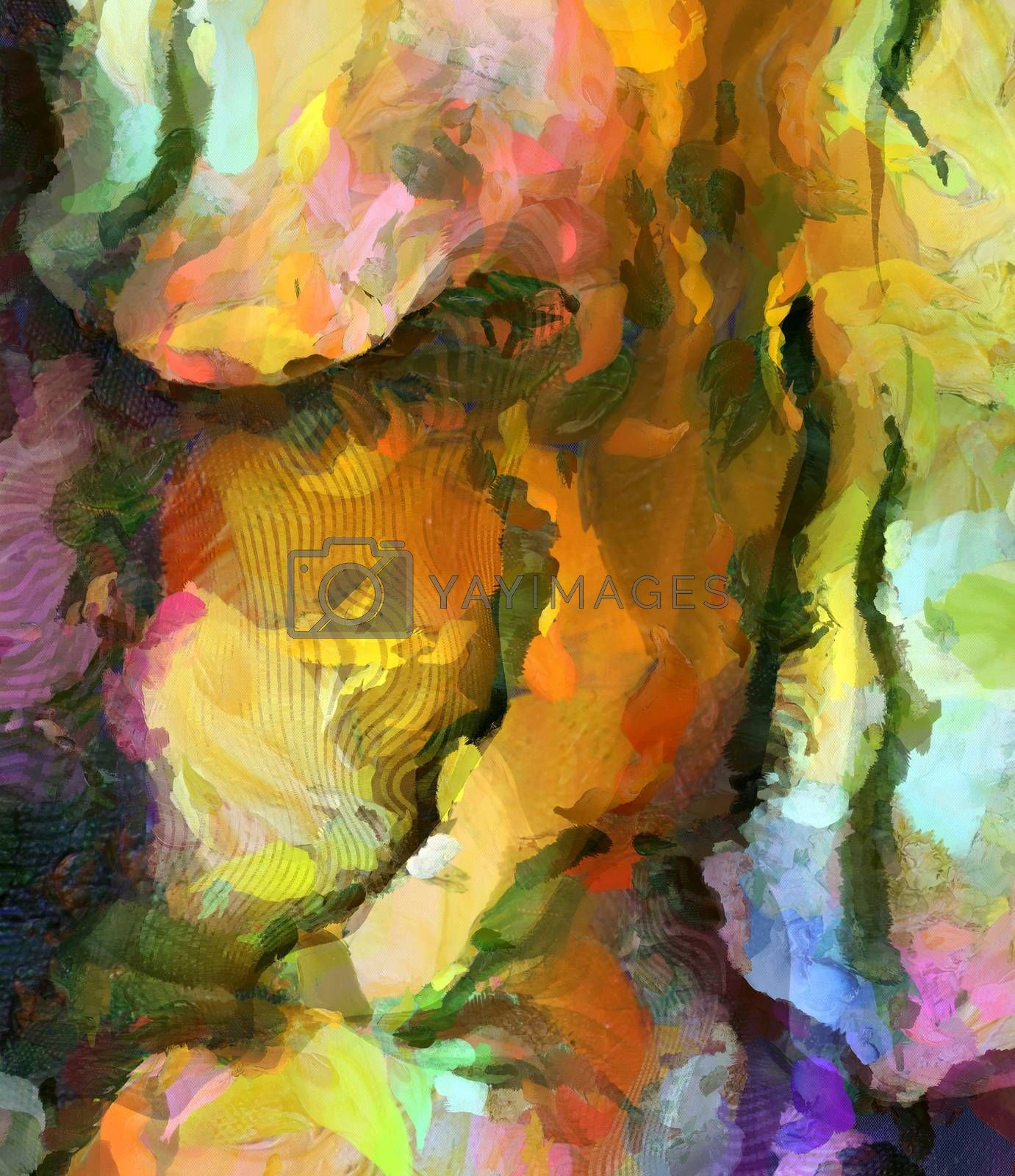 Yellow Abstract Painting. 3D rendering