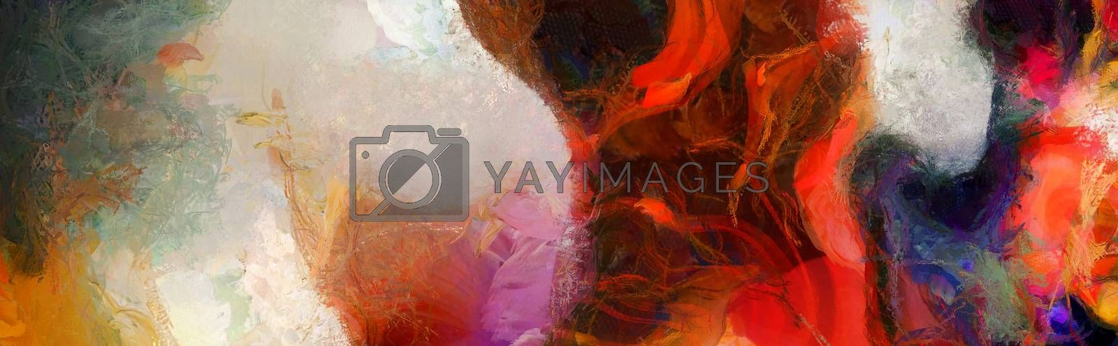 Vivid Abstract Painting. Wide brush strokes. 3D rendering