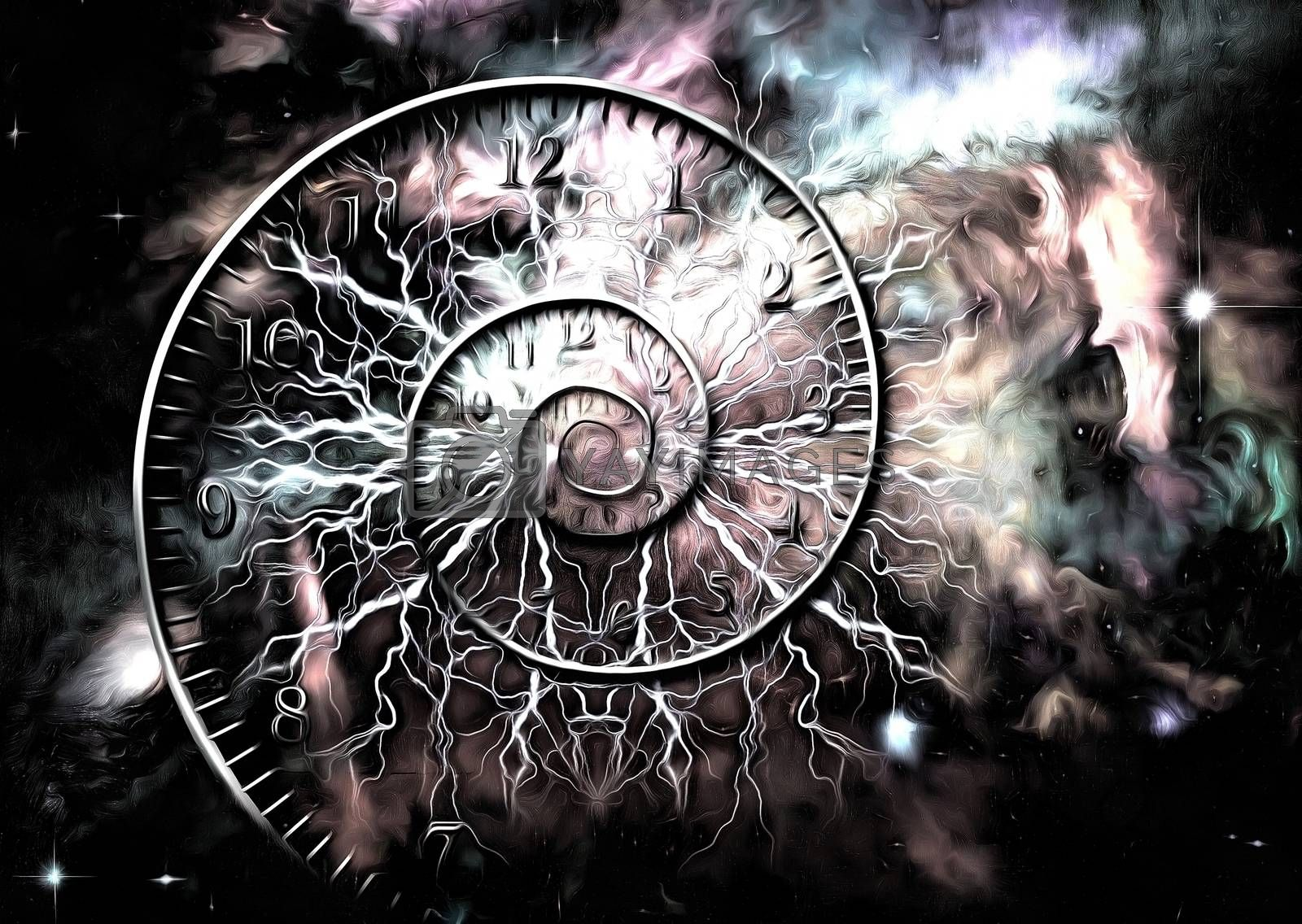Surreal painting. Spiral of time. 3D rendering