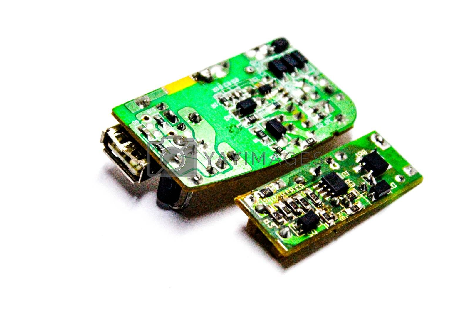A picture of circuit board with white background
