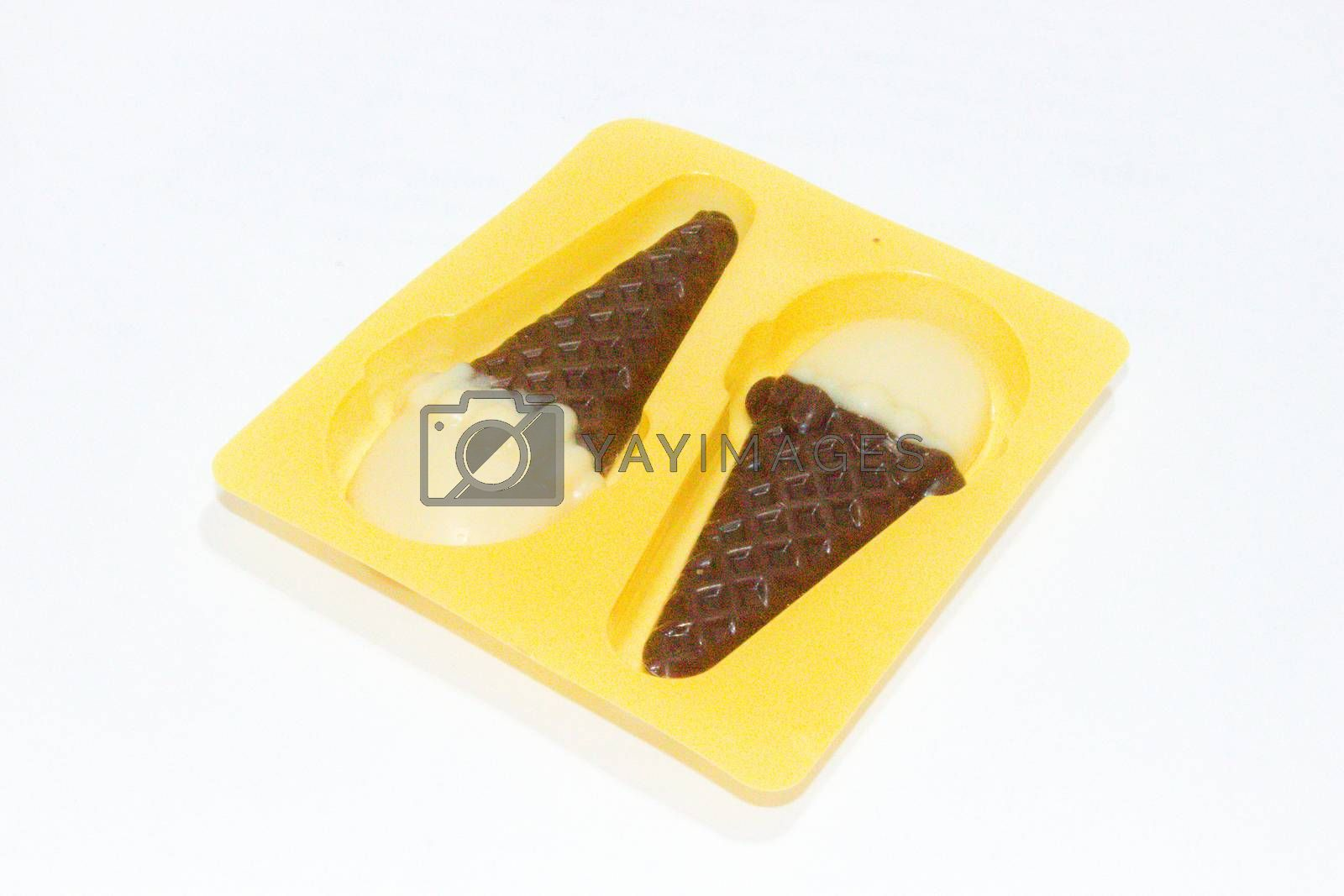 A picture of chocolate cone with white background