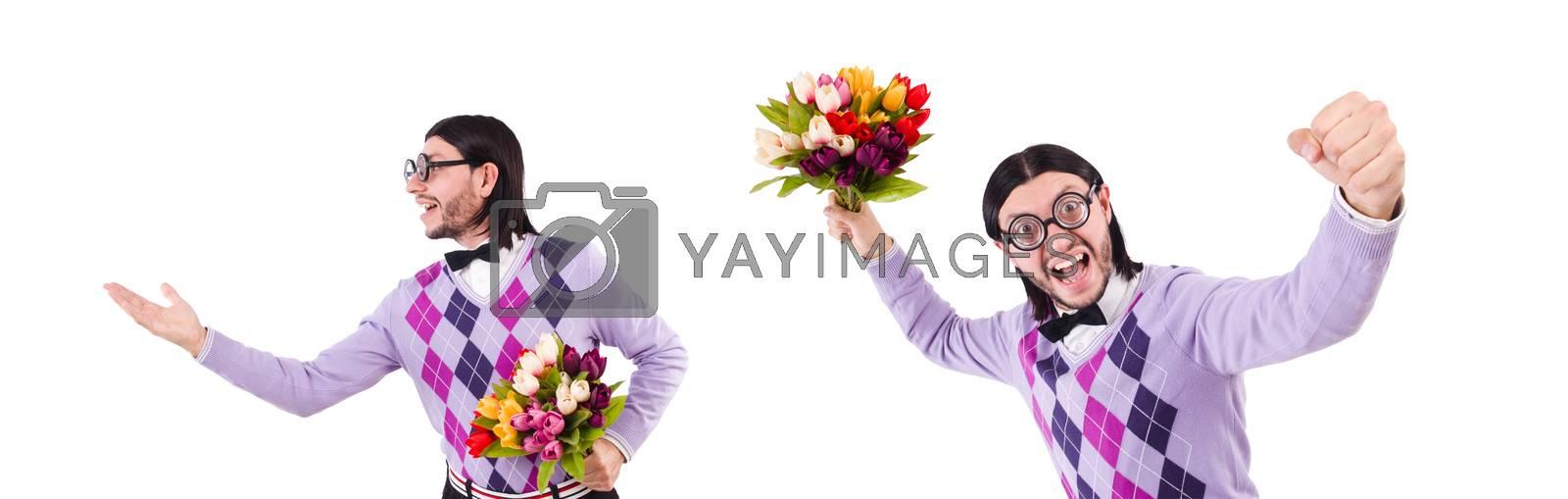 Man holding tulips isolated on white