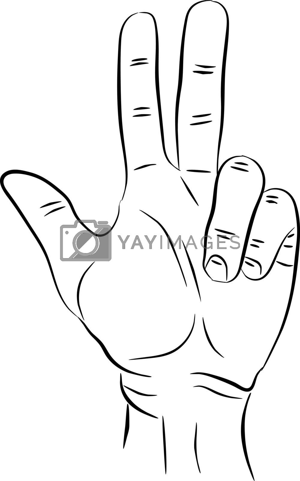 3 fingers icon. Three fingers up count gesture isolated vector Illustration. Can be used for logo or emblem in infographics or web sites and design. EPS