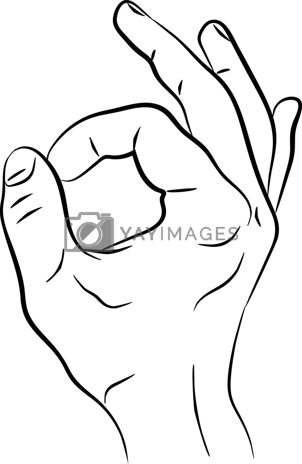 Hand showing symbol okay. OK. Vectorillustration isolated on white background. Sign for web, poster, info graphic EPS