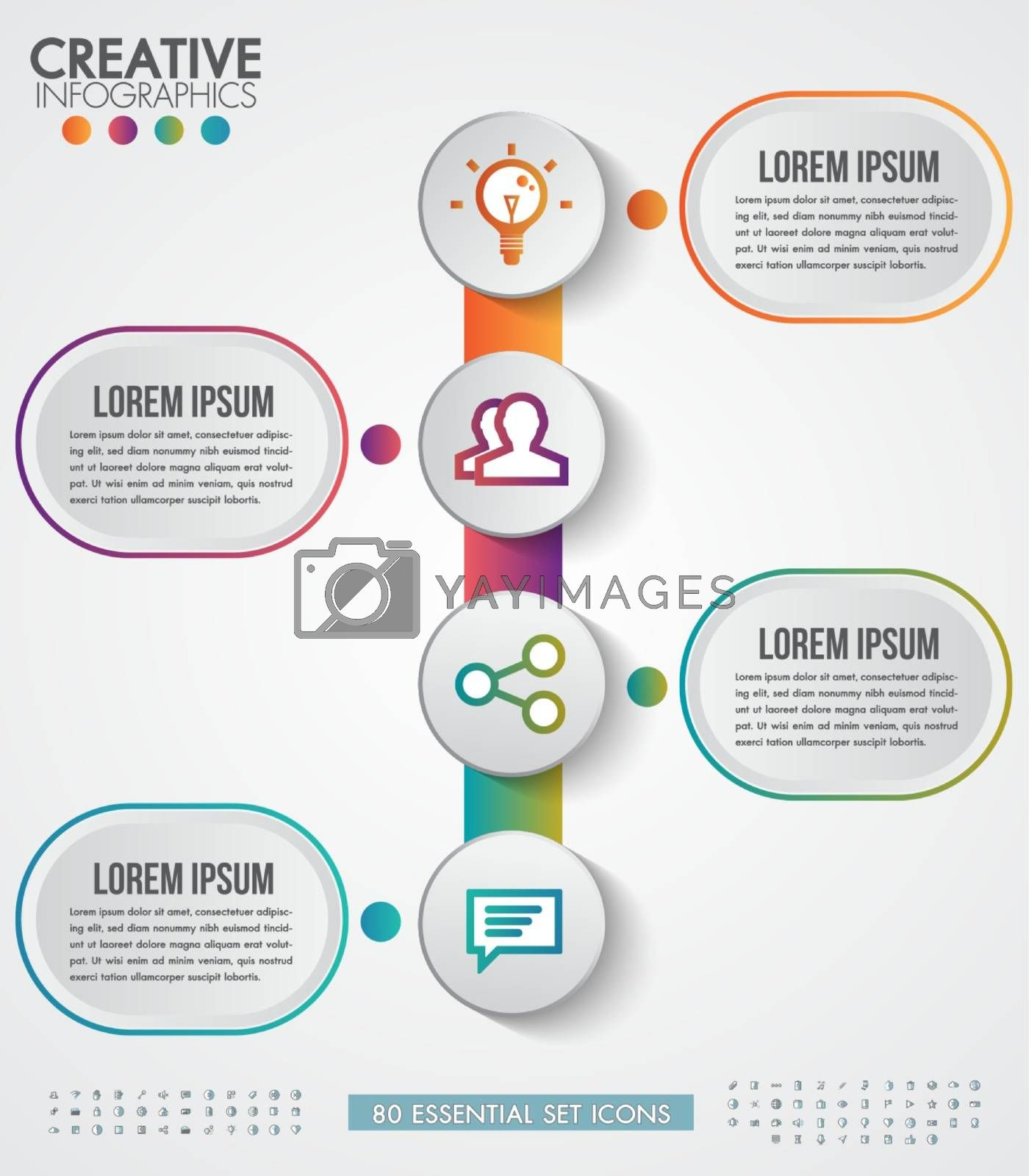 Infographic modern design vector template for business with 4 steps or options illustrate a strategy. Can be used for workflow layout, diagram, annual report, web design.Free 80 essential icons.