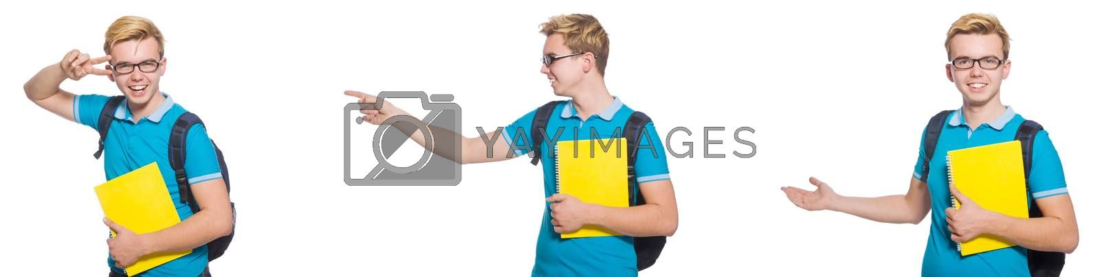 Young student isolated on white background