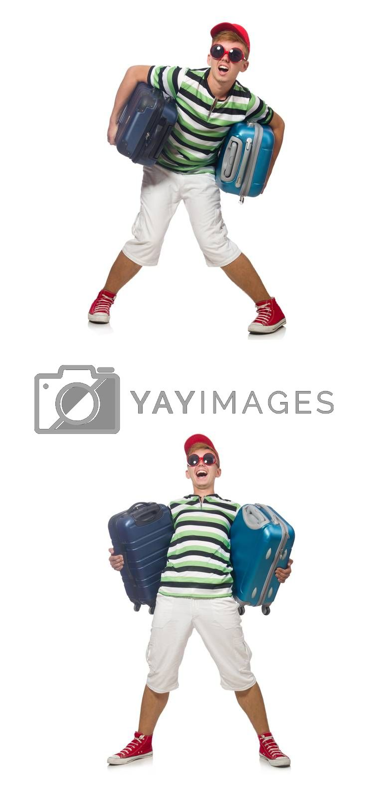 Young man with heavy suitcases isolated on white