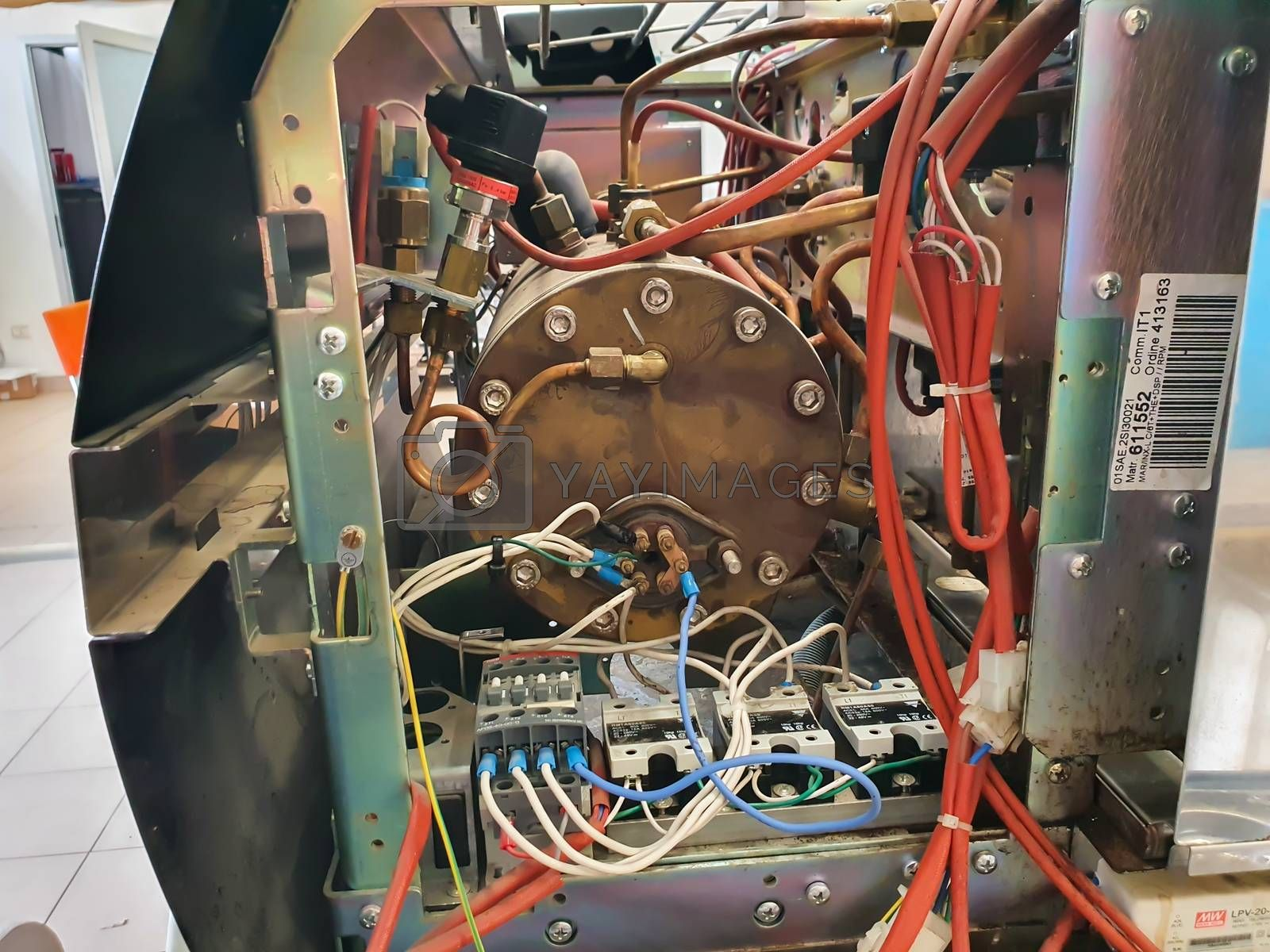 terni,italy august 18 2020:disassembled coffee machine electrical parts