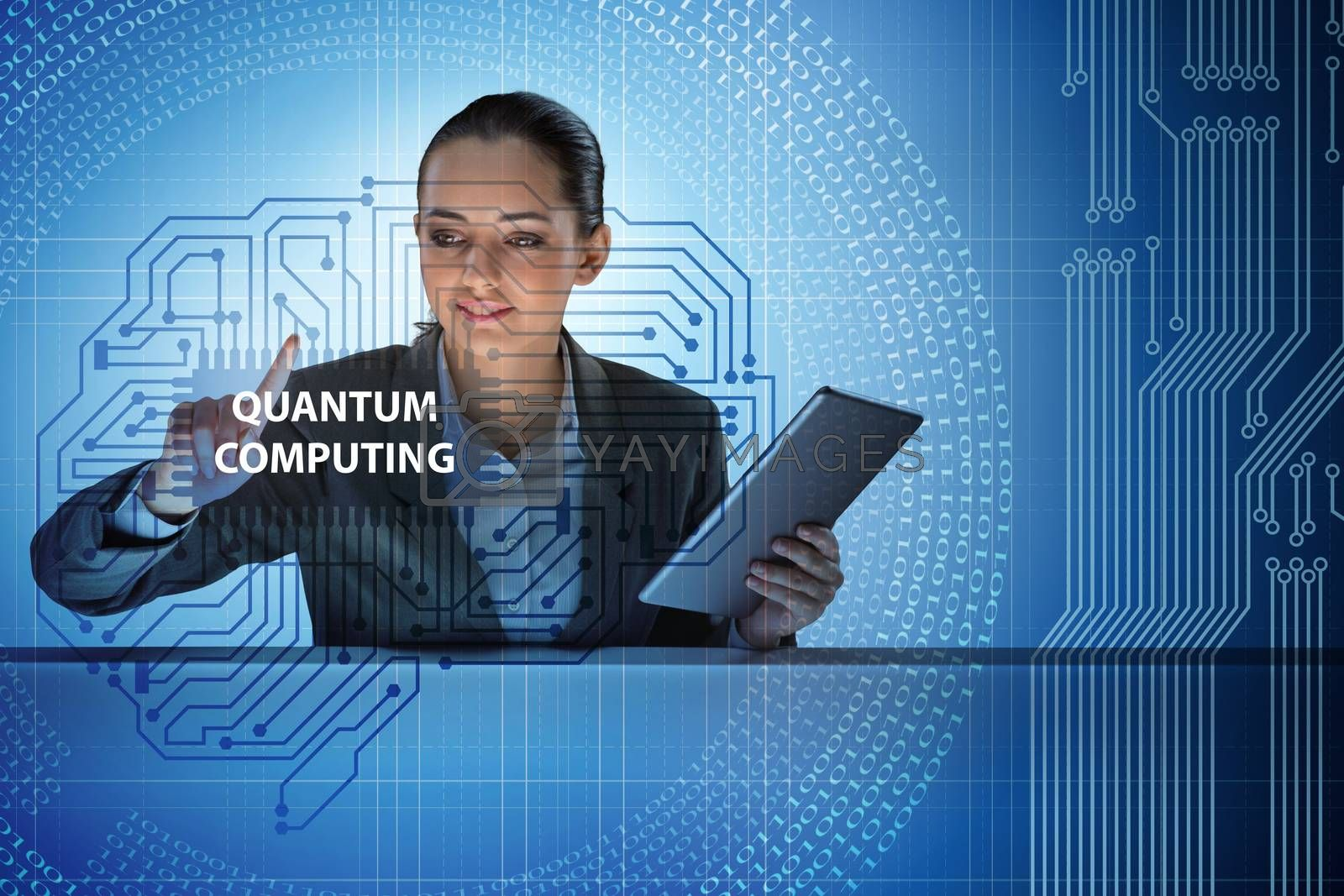 Businesswoman pressing virtual button in quantum computing concept