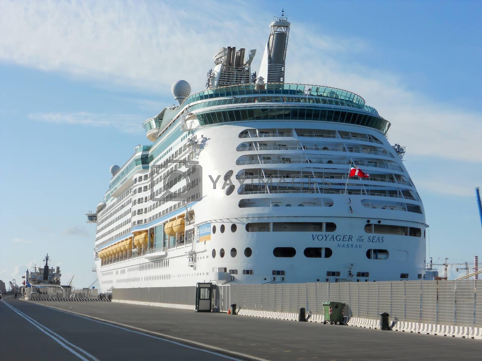 civitavecchia,italy august 18 2020: cruise ship coming from norveggia to the port of civitavecchia rome