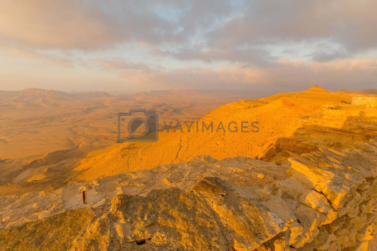 Sunrise view of cliffs and landscape in Makhtesh (crater) Ramon, the Negev Desert, Southern Israel