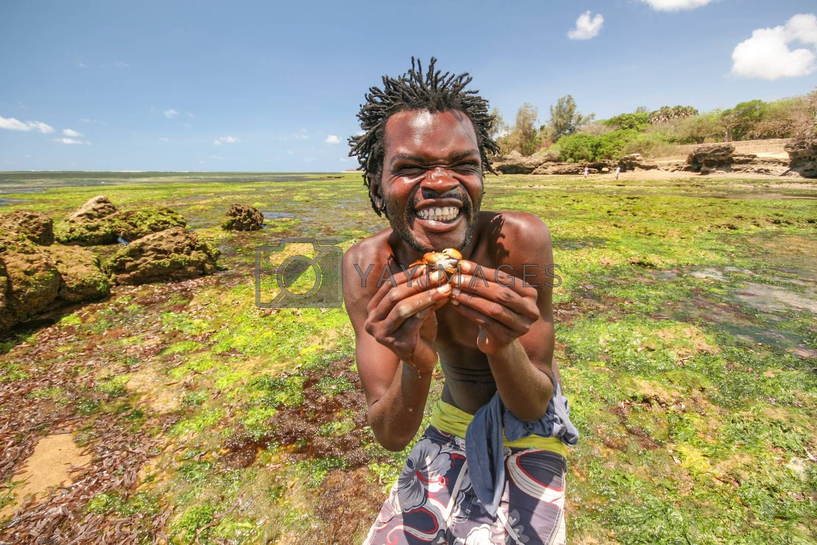 Malindi, Kenya - April 08, 2015: Local beach boy posing for tourists holding small crab and smiling widely, with sea bottom uncovered during low tide in background.