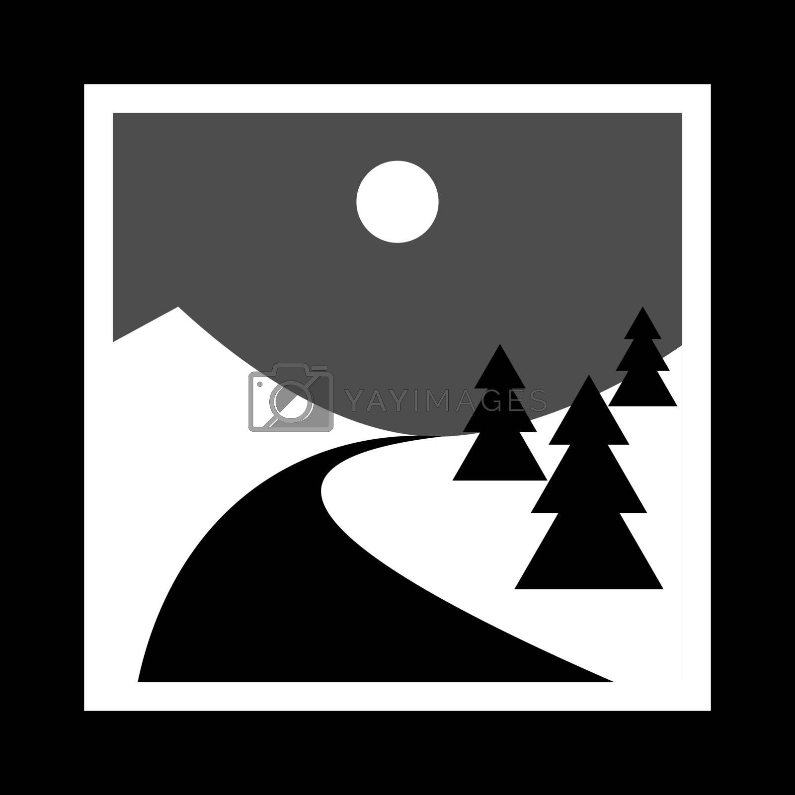 simple monochrome icon with snowy hills, spruce trees and road