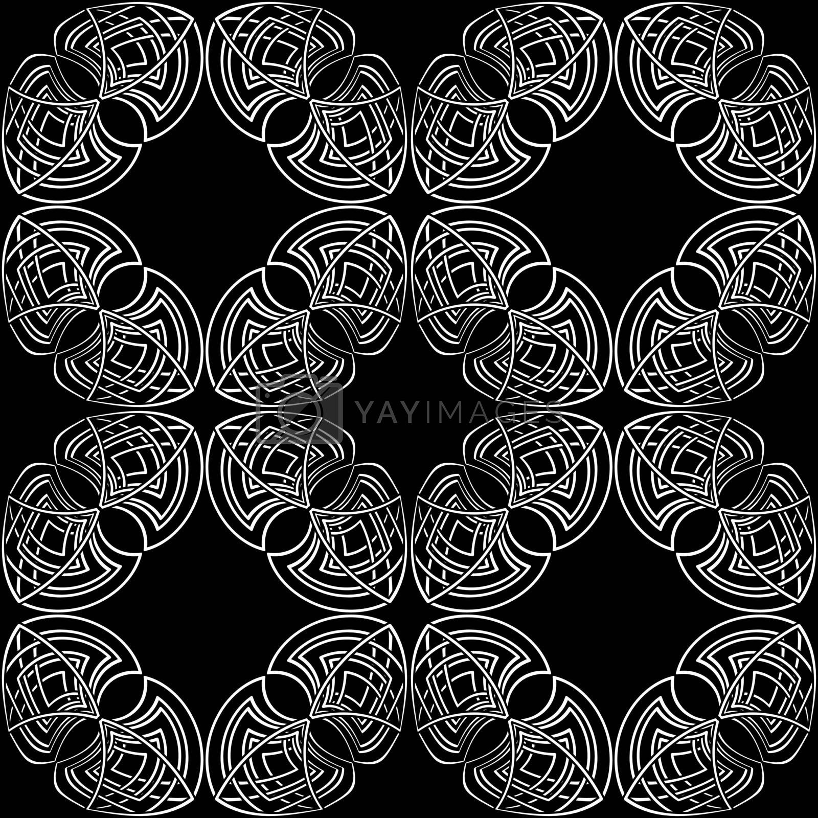 elegant black and white seamless pattern in ancient gothic style by paranoido