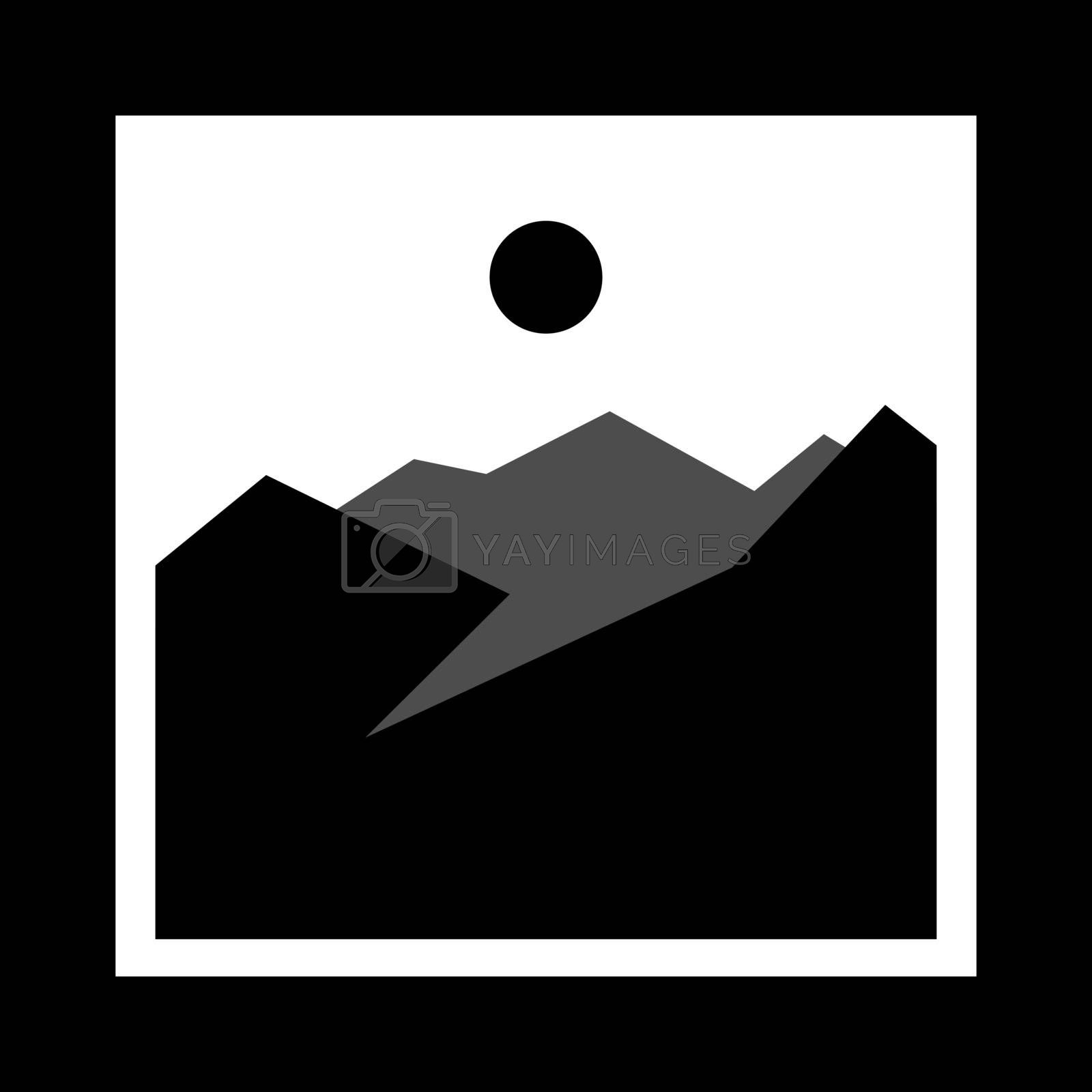simple monochrome icon with mountains and sun