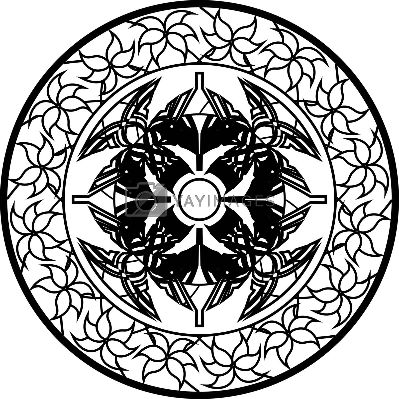 abstract monochrome mandala with folk geometric tracery ornamented by flowers