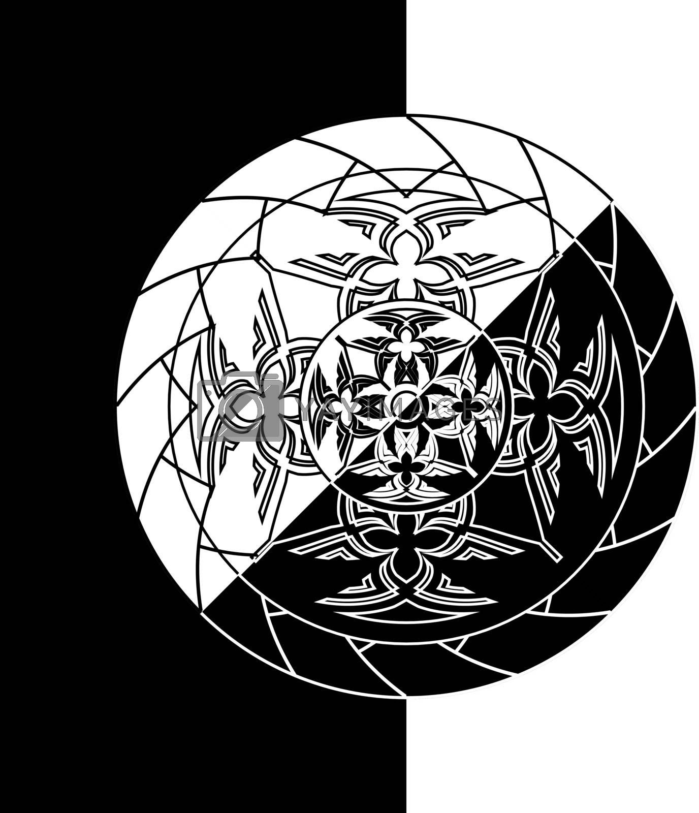 black and white inverse abstract monochrome circle in tribal style