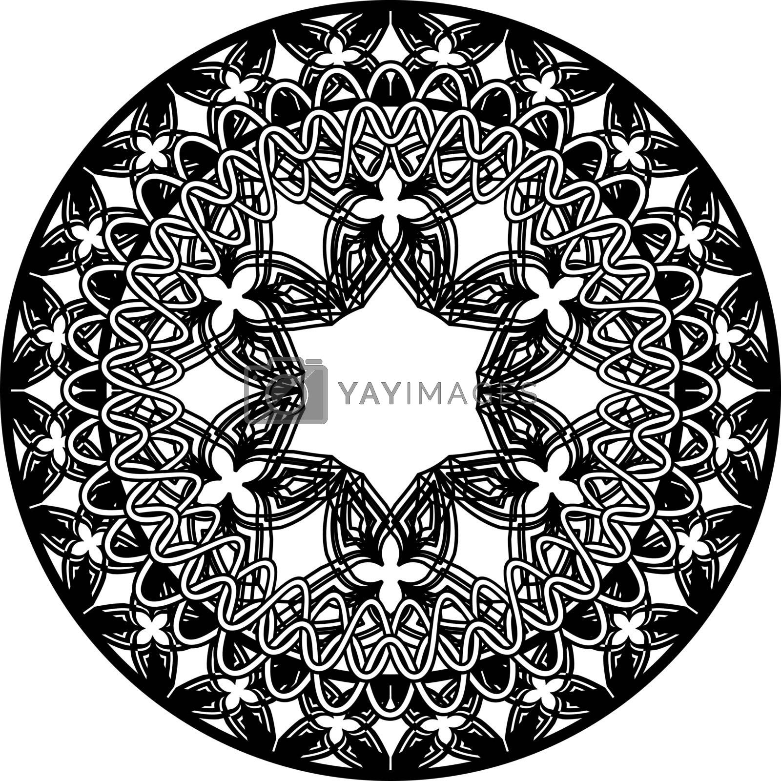 abstract monochrome mandala in tribal style by paranoido
