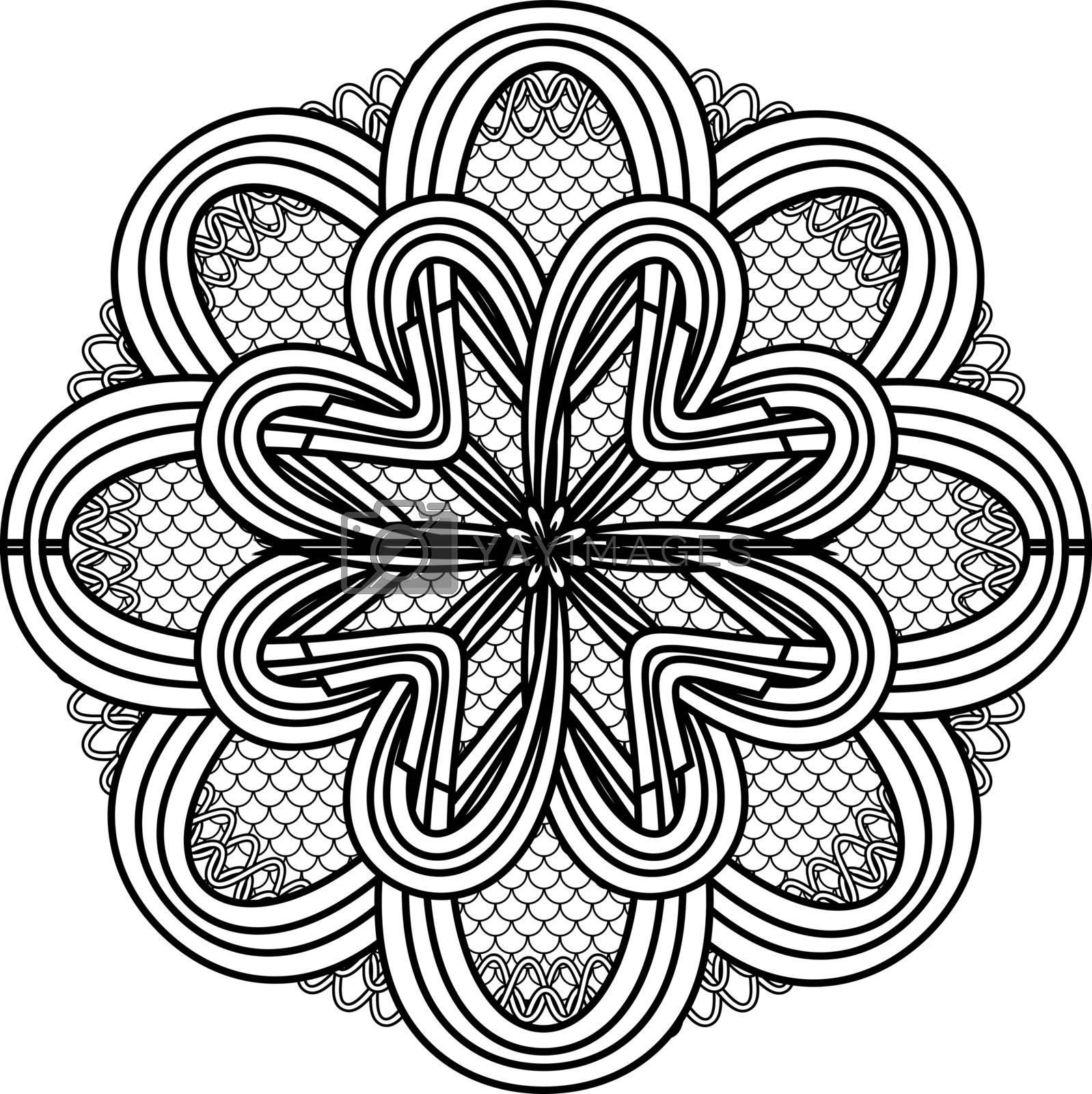 abstract monochrome mandala flower on squama circle by paranoido