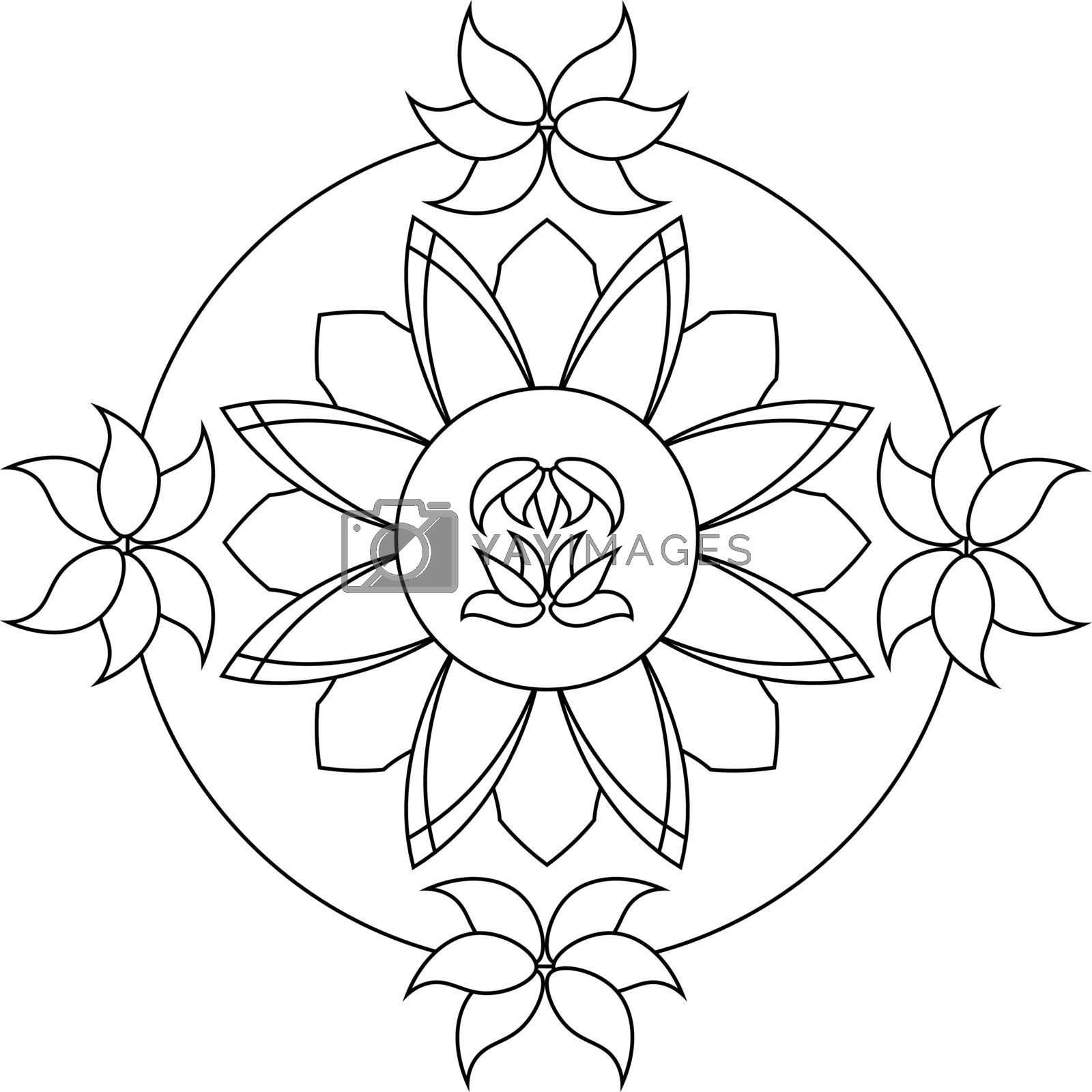 abstract monochrome mandala with lotus flowers by paranoido