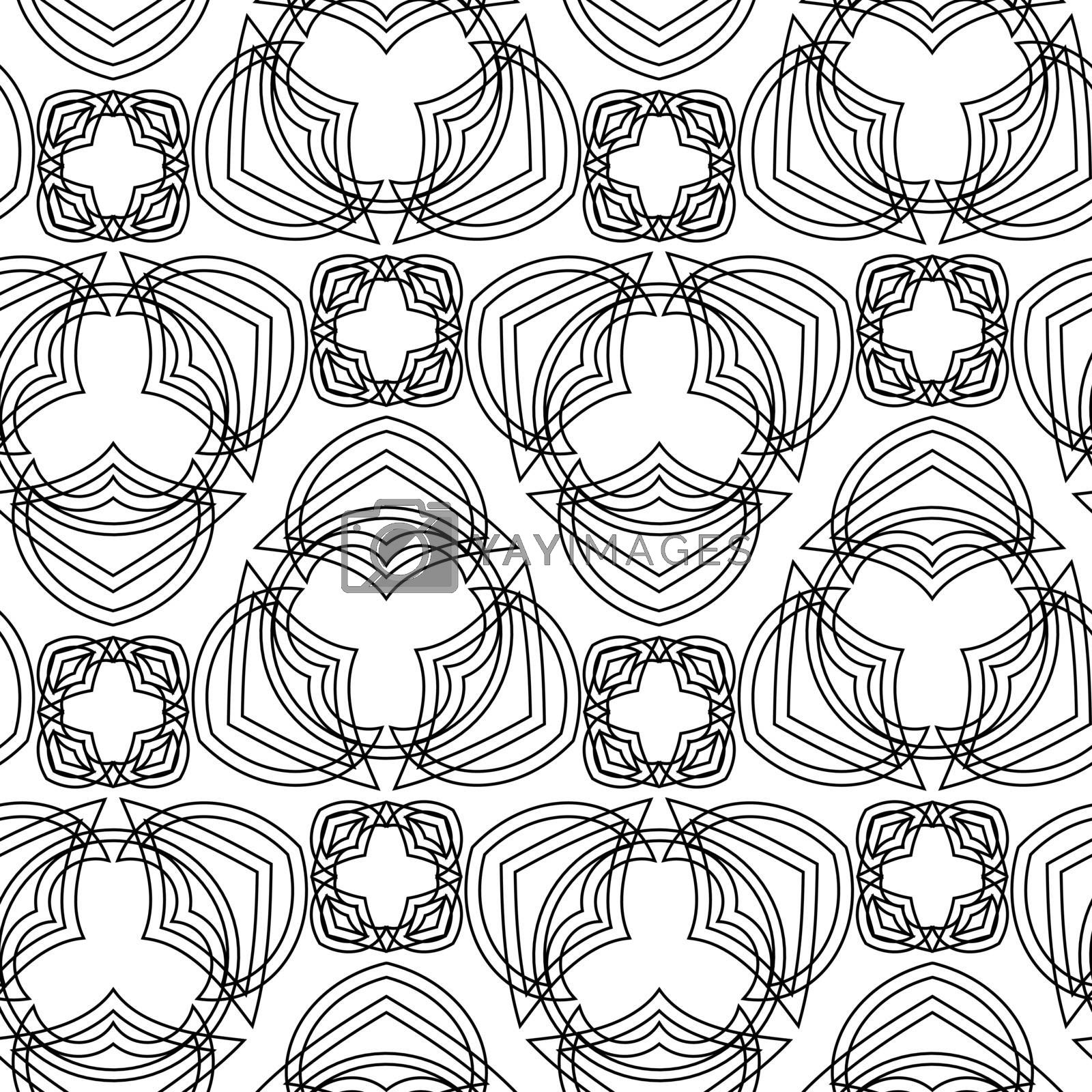 white seamless pattern with thin black geometric tracery of outline abstract flowers