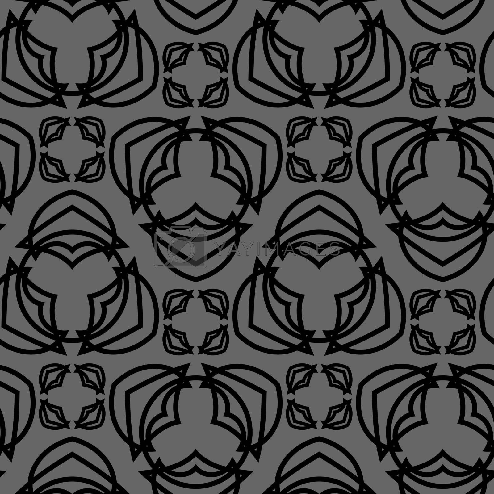 grey seamless pattern with black geometric tracery by paranoido