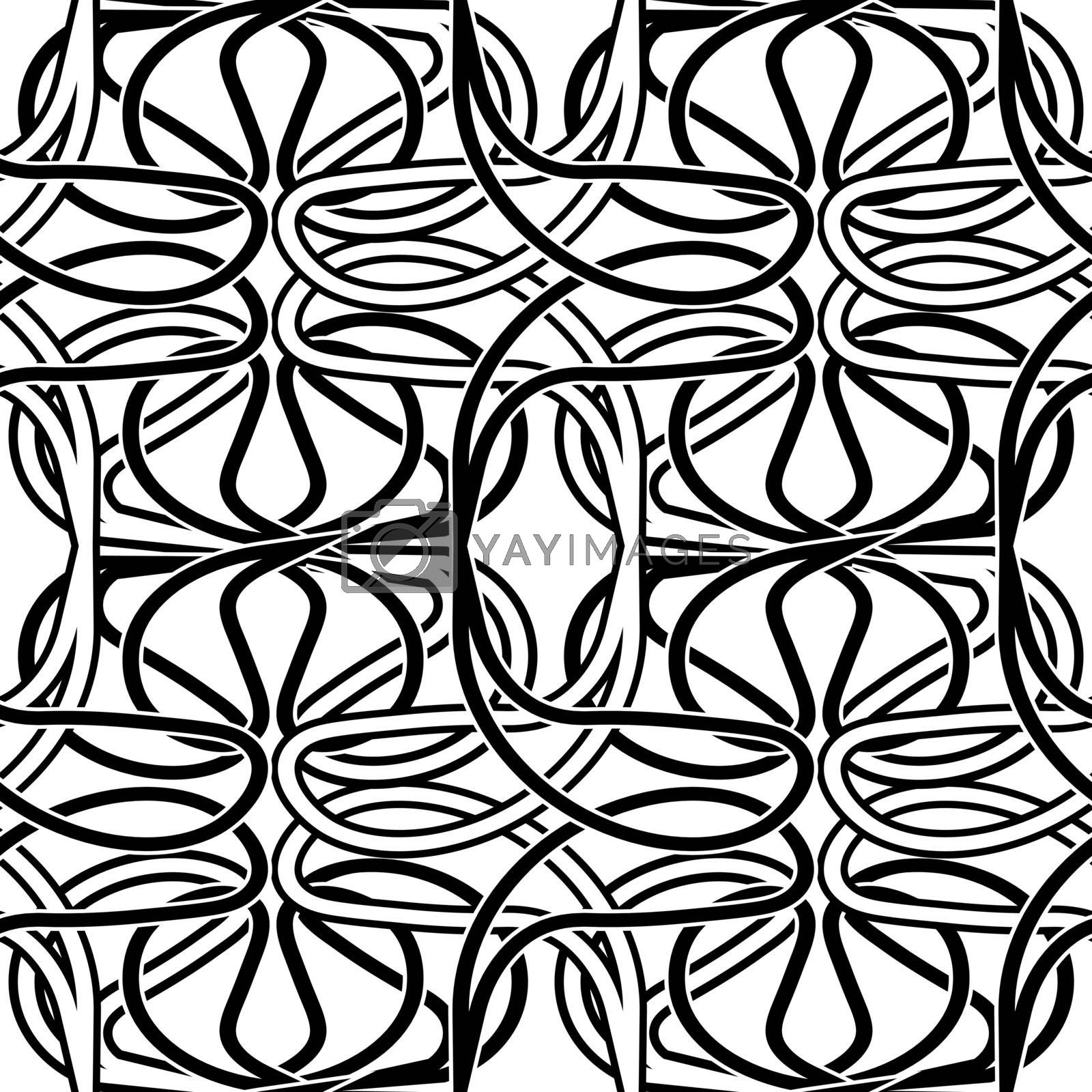 abstract seamless pattern with black and white tracery by paranoido