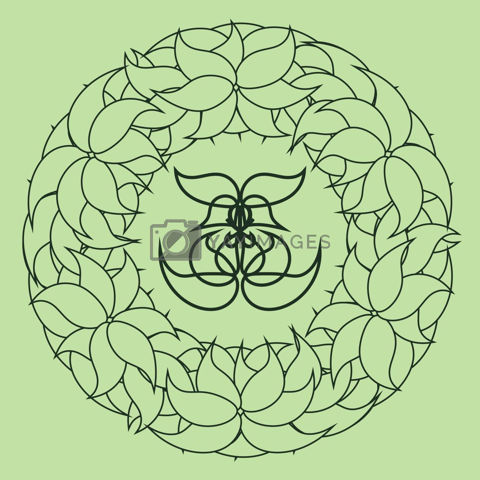 outline abstract floral wreath on green background by paranoido
