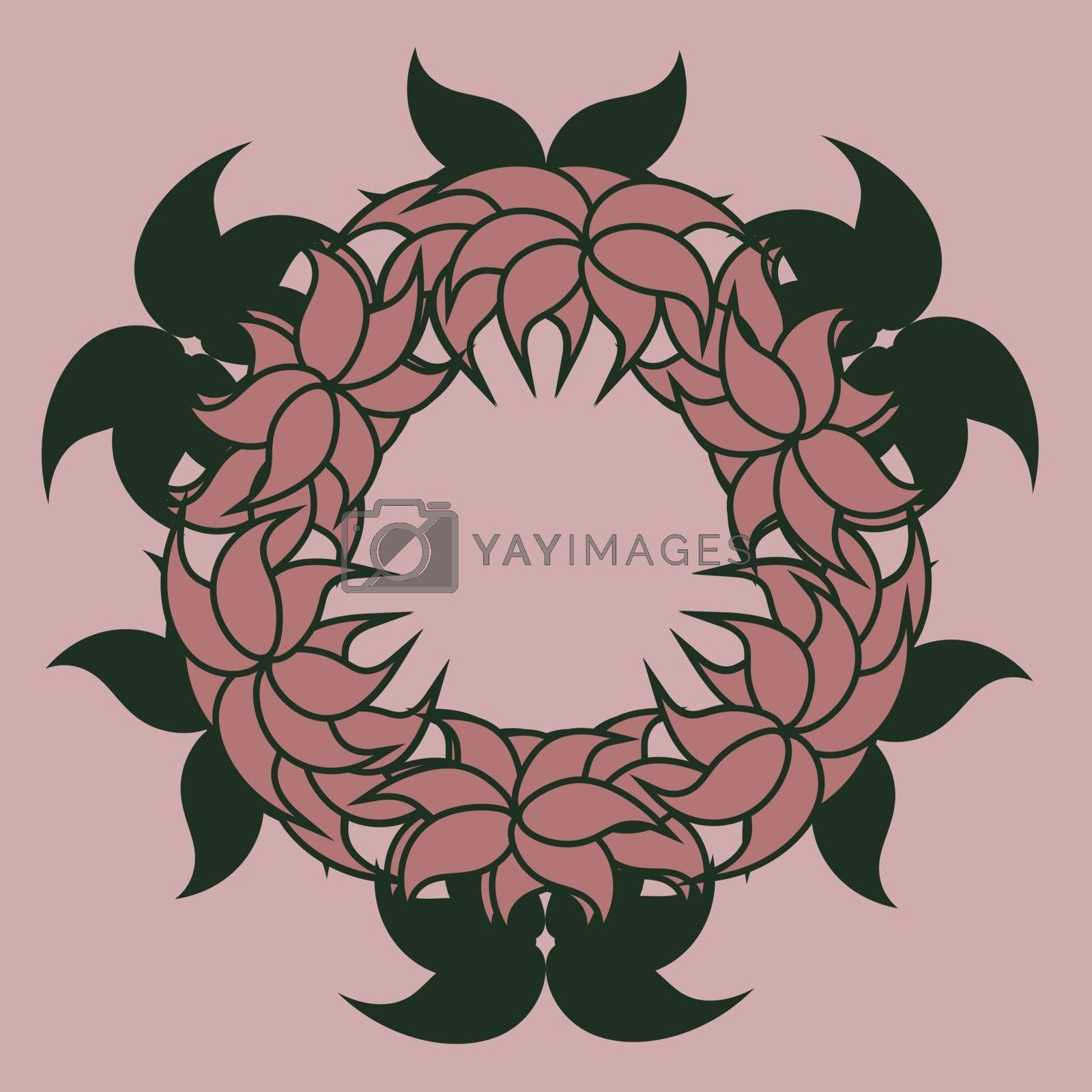 pink abstract floral wreath with green leaves by paranoido