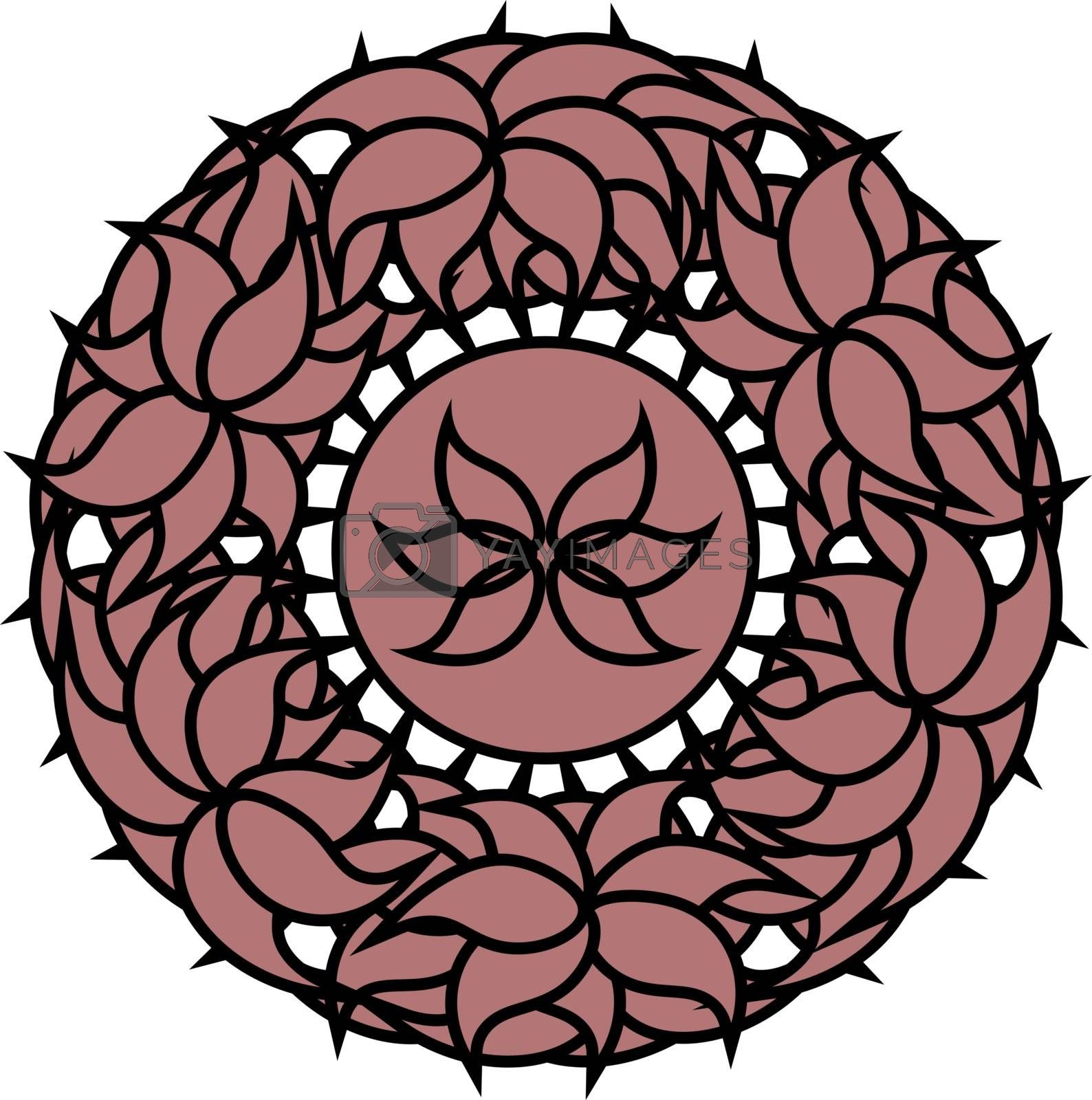 pink outline abstract wreath with lotus in ornate floral frame