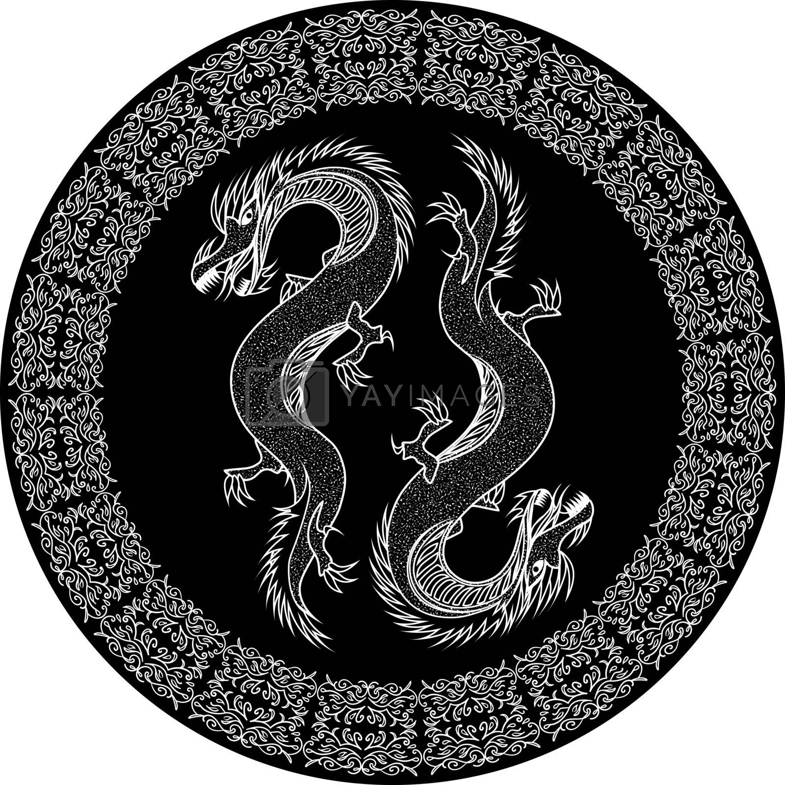 two outline oriental dragons in black ornamented circle or plate