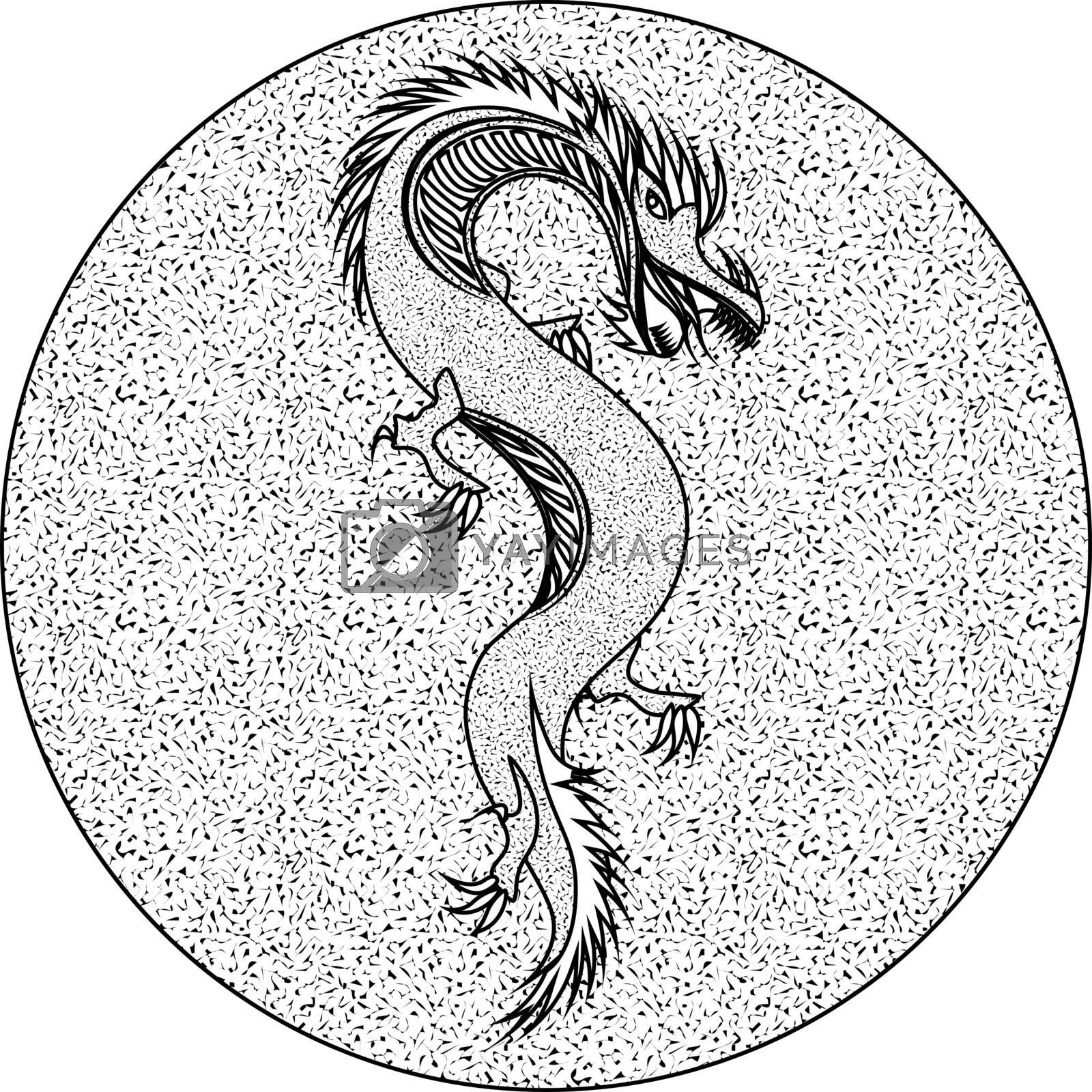 outline monochrome dragon on textured circle in traditional asian style