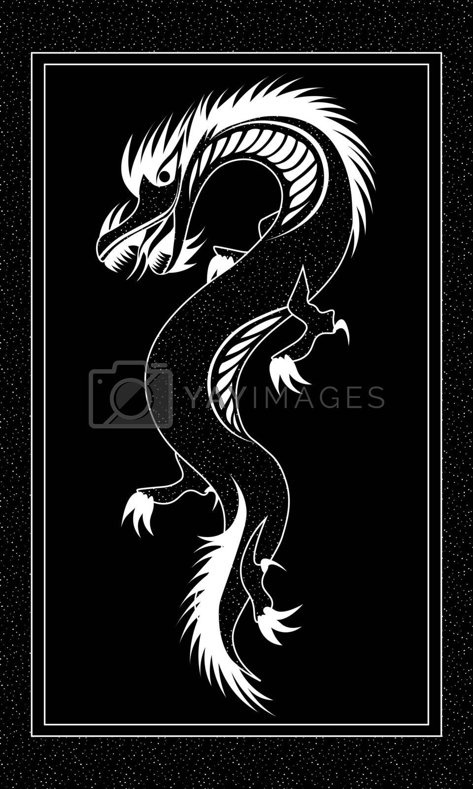 dark illustration with black dragon by paranoido