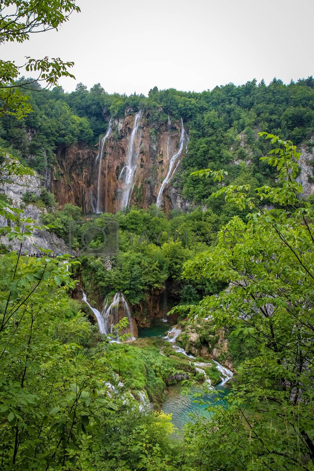 A series of large waterfalls at Plitvice Lakes, UNESCO World Heritage Site, Croatia