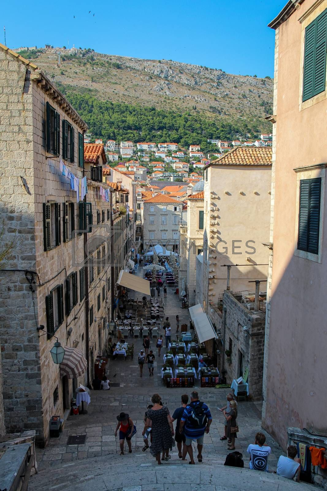 Dubrovnik, Croatia - July 15th 2018: A view down a street into the Square in Dubrovnik's old town from the town walls, Croatia