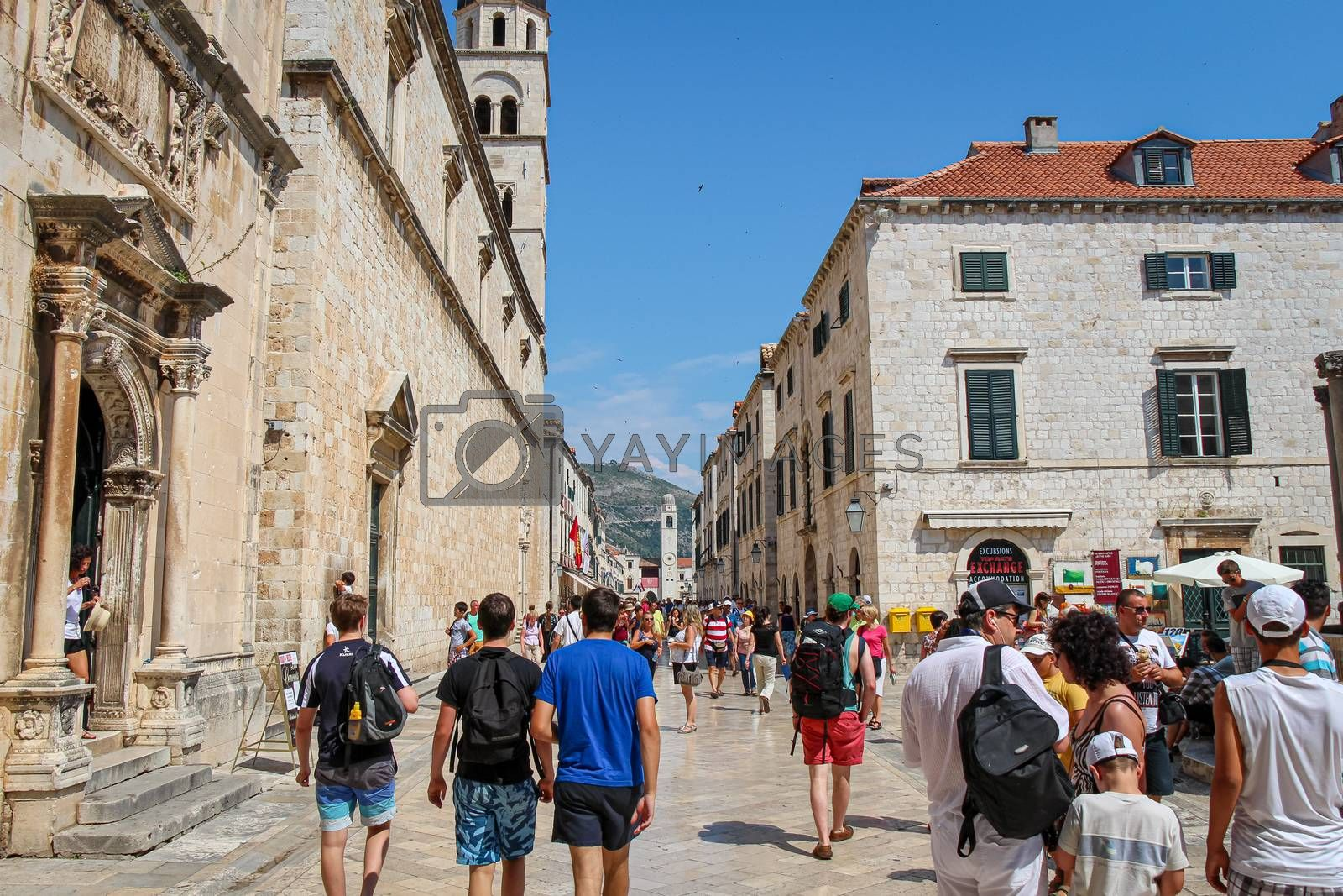 Dubrovnik, Croatia - July 15th 2018: A busy Stradun main street with tourists in summer, in the old town in Dubrovnik, Croatia