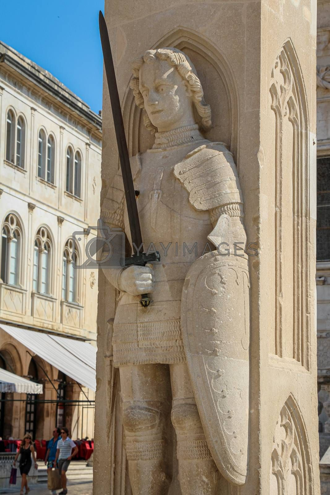 Dubrovnik, Croatia - July 15th 2018: Orlando's Column Statue at the Church of Saint Blaise, in the old town in Dubrovnik, Croatia