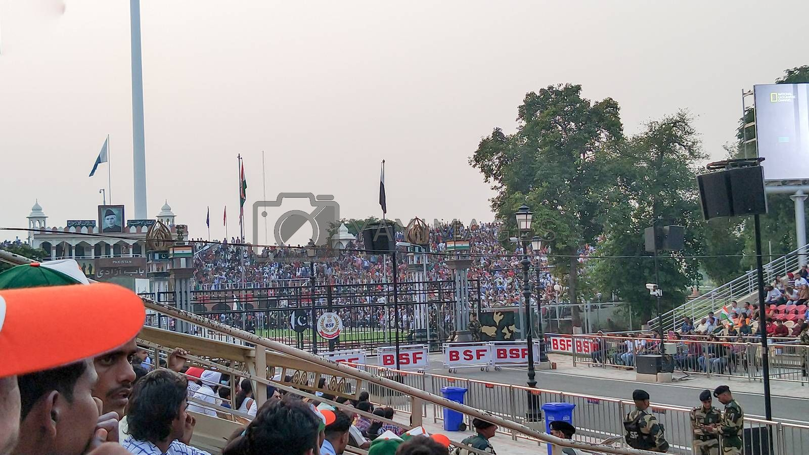 Wagah border ceremony between Pakistan and India in Wahga or Wagha Border in famous India Pakistan border. Amritsar Punjab, India 15 August 2019